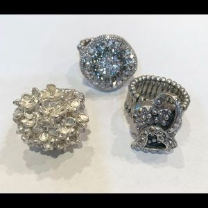 💐5/25 3 ring lot bundle bling stretchy silvertone
